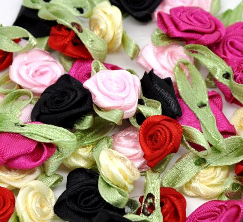 Satin Ribbon Flowers - Mixed colours (Pack of 10)